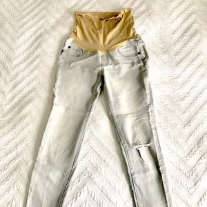 Gray Distressed Skinny Maternity Ankle Jeggings XS